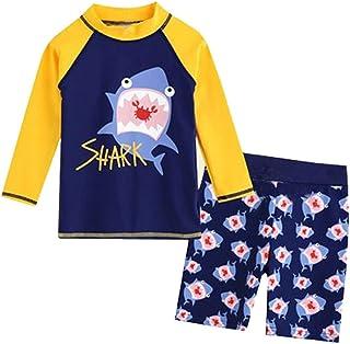 MOGOV Baby/Toddler Girl Swimsuit Two Pieces Kid Baby Boy Long Sleeve 3D Dinosaur Cartoon Beach Swimwear Bathing Set Clothes