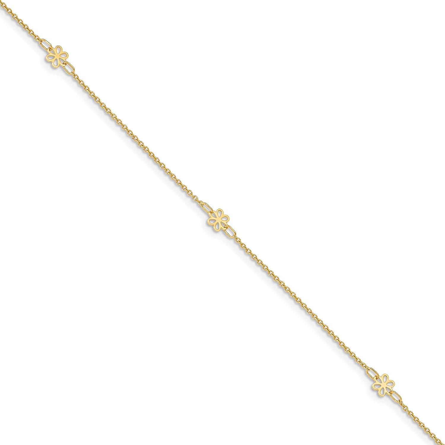 14K Polished Flowers w/1 in ext Anklet, 14k Yellow Gold, Length: 11 inch