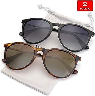 3e169431264c WOWSUN Polarized Sunglasses for Women Vintage Retro Round Mirrored Lens