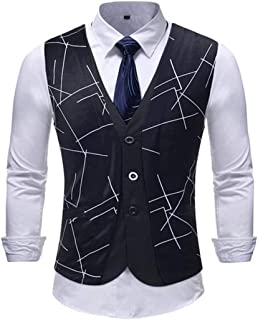MU2M Men Casual Single Breast Pattern Design Casual Waistcoat Business Suit Vest