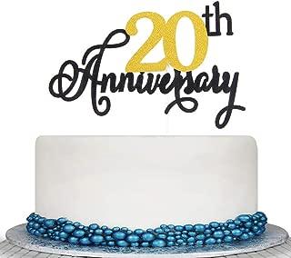 Glitter 20th Anniversary Cake Topper - Cheer to 20 Years Cake Topper -Anniversary or Vow Renewal Decoration Ideas