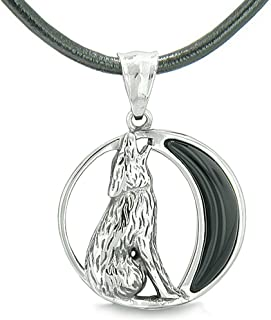 Amulet Howling Wolf Wild Moon Spiritual Powers Simulated Black Onyx Leather Pendant Necklace