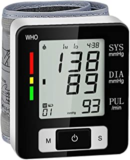 Wrist Blood Pressure Monitors Automatic Digital BP Meter 2x60 Reading Memory Dual Users Mode LCD Large Display Fast Reading for Home Use, Includes Intelligent Voice Function, Accurate and Reliable