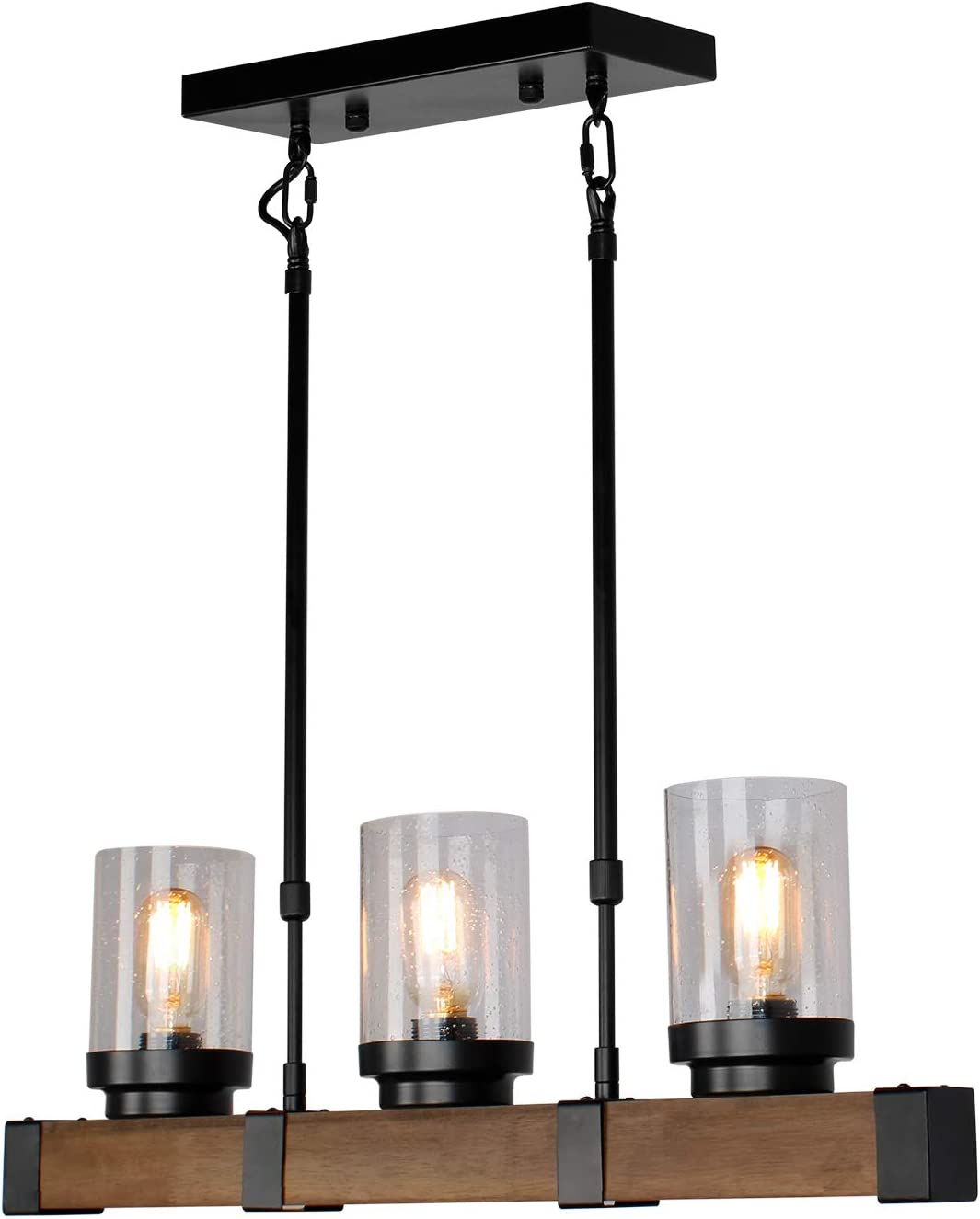 JHLBYL Farmhouse Chandeliers Colorado Springs Mall 3-Light Wooden and Cei Metal Rustic Max 68% OFF