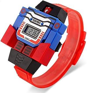 Deportes Reloj Digital Pantalla LED niños Relojes Robot, Creativo Reloj electrónico Desmontable para niños, diseño de Superman se transforma en Robot Extensible de Caucho