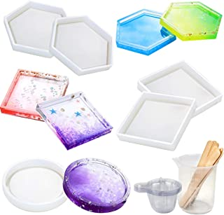 Vindar 5 Pack DIY Silicone Coaster Resin Molds, Epoxy Casting Molds Including Round, Hexagon and Square Mold for Resin, Concrete, Cement, Home Decoration, with Measurement Cup and 10 Wood Sticks