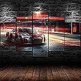 TTTRR Impresión En Lienzo Coche deportivo de carreras Aud R8 5 Piezas Cuadro sobre Lienzo, Modernos Grandes Arte Decoracion Salon Dormitorios Mural Pared Listo para Colgar 150*80 Cm