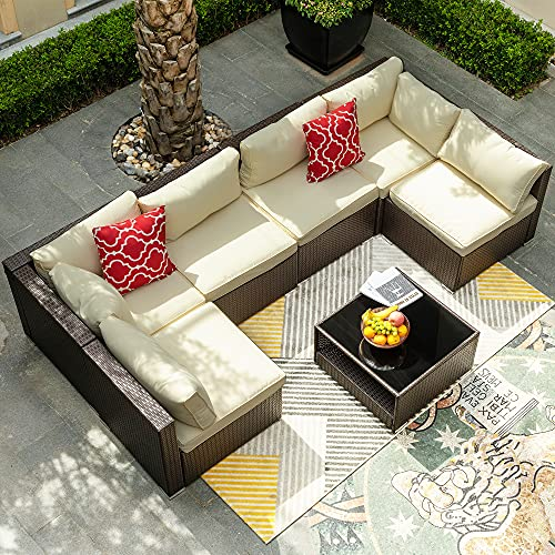 YITAHOME 7 Pieces Patio Furniture Set, Outdoor Sectional Sofa PE Rattan Wicker Conversation Set Outside Couch with Glass Table and Cushions for Porch Lawn Garden Backyard, Brown