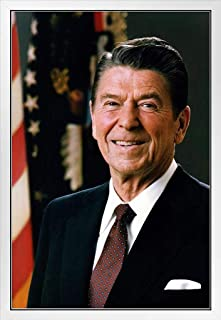 President Ronald Reagan Official Portrait Photo White Wood Framed Poster 14x20