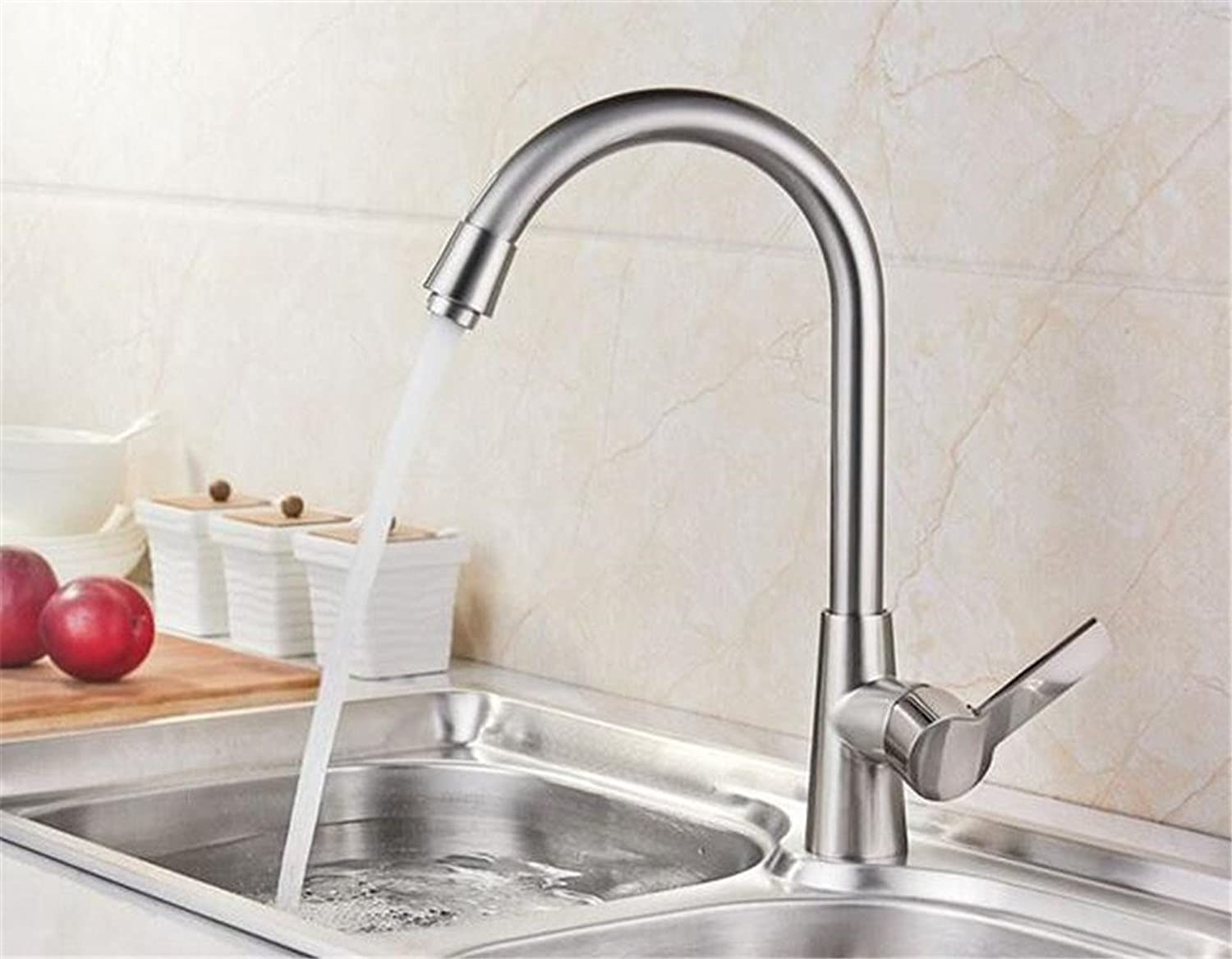 Decorry 304 Cold Kitchen Faucet Mixing Valve Member Hot and Cold Water All Copper Kitchen Sink Faucet Ceramic Valve Core, Goddess Cold Drawing Section 7