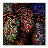 """Pixz-zazz African American Wall Art Tribal Tattoo Ladies Design African Framed on Cotton Canvas Ready to Hang for All Rooms (20"""" x 20"""")"""