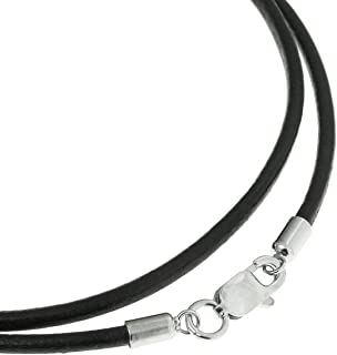 Queenberry Black Leather 2mm Choker Necklace with Sterling Silver Lobster Clasp