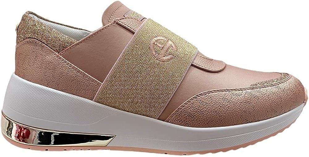 Enrico coveri, scarpe sneakers da donna, elastic nappa saten, in pelle sintetica ECW112771