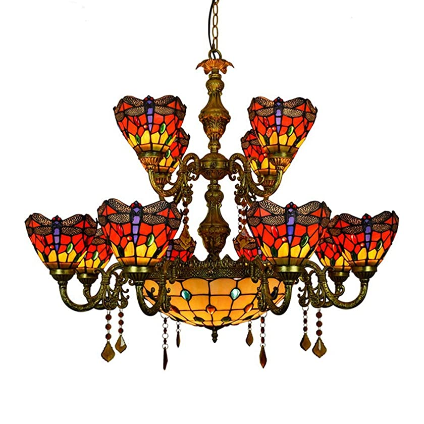 見出しつまらない破壊的HTYJY ティファニースタイルシャンデリアヨーロッパのトンボのデザインペンダントライトレトロダブルレイヤーステンドグラス/ 12-ヘッドクリスタルアートリビングルームの照明器具用の天井ランプハンギング Tiffany style
