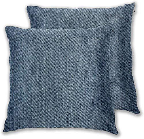 'N/A' Kissenbezug (2er-Set), Denim-Jeans-Textur, einfarbig, dekorativer quadratischer Kissenbezug für Sofa, Couch, Schlafzimmer, Auto, 50,8 x 50,8 cm