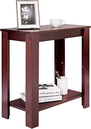 discount Giantex Chairside Table Nightstand W/Shelf Telephone Table Coffee Bedside Sofa Table for wholesale Living Room Bedroom, lowest Espresso Tall Side End Table (1) sale
