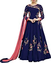Nivah Fashion Women's Georgette Embroidered Anarkali Salwar Suit (Semi Stitched)