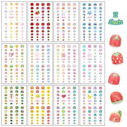 Arte de uñas Pegatinas para niños, Dibujos Animados Animales Frutas Postre Estrella Corazón Forma mixta Autoadhesivo Nail Art Sticker para decoración niñas pequeñas, Llenadora de bolsas de regalo