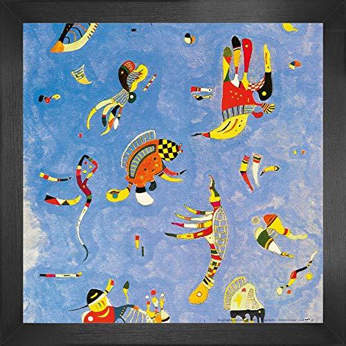 1art1 Wassily Kandinsky Poster Kunstdruck und MDF-Rahmen - Himmelblau, 1940 (40 x 40cm)