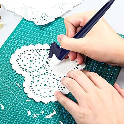 Utensili da taglio artigianali – Utensili da taglio con rotazione a 360 gradi – per artigianato, hobby, scrapbooking, stencil, taglierina di precisione per fai da te, taglio, intaglio (1 pezzo, blu)