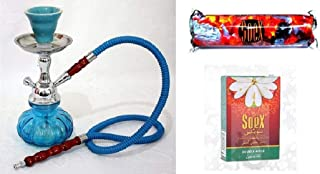 Small Sky Blue Hookah for Shisha Smoking Pipe with 1 Roll of Soex Charcoal Coal and 1 Box of Soex Double Apple 50 gr Herbal Shisha - no Tobacco no Nicotine