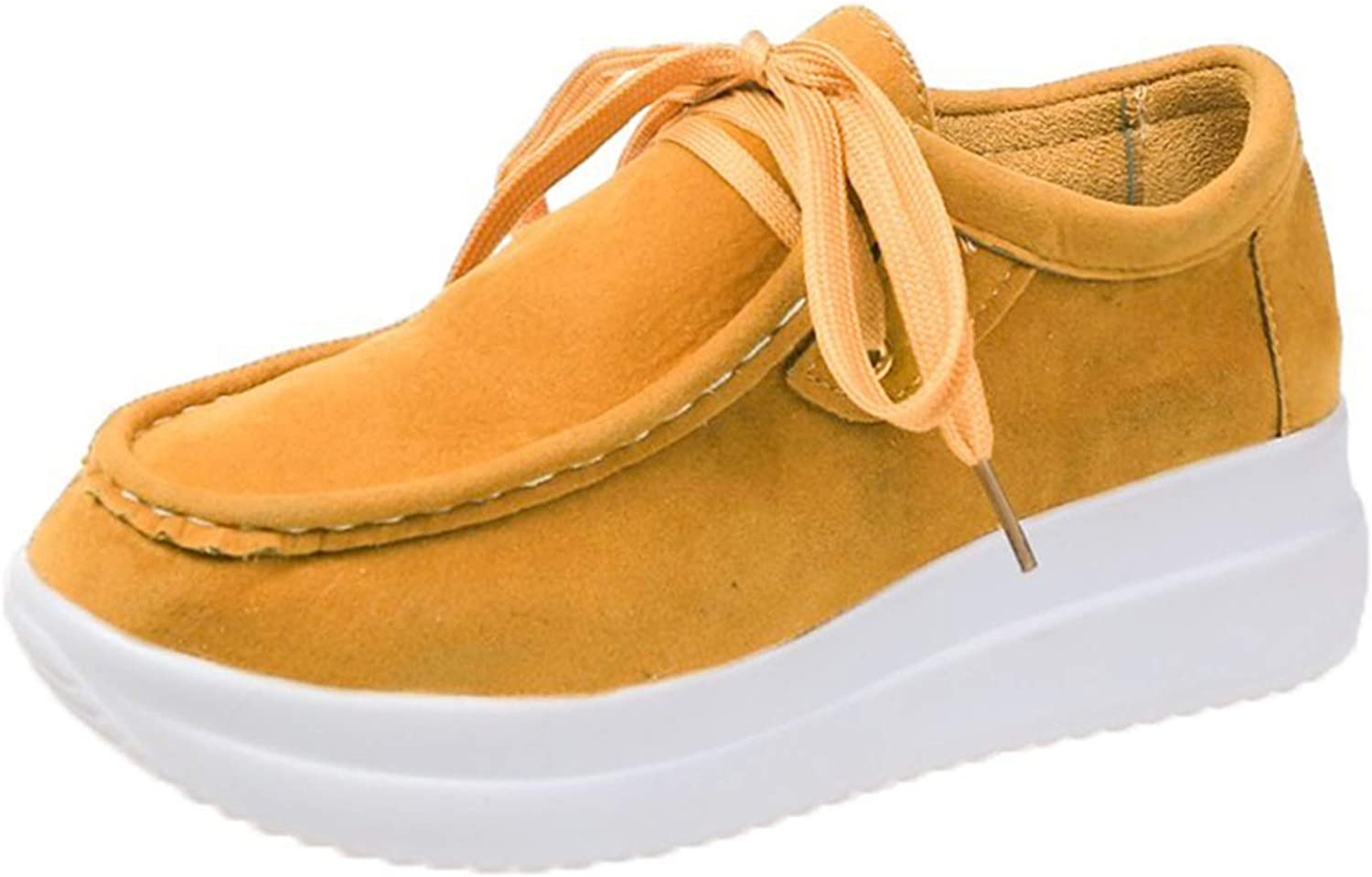 Erocalli Casual Lace up Loafers Shoes Platform Fashion Sneakers for Women Comfortable Walking Shoes Spring Tennis Shoes Yellow