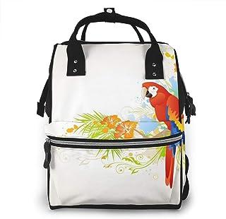 Luiertas Rugzak, JOJOshop zomerachtergrond met sieraad en papegaai groot multifunctioneel rugzak, grote capaciteit, waterd...