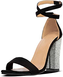 Women's Heeled Sandals Ankle Strap Block Chunky High Heel Open Toe Pump Sandals