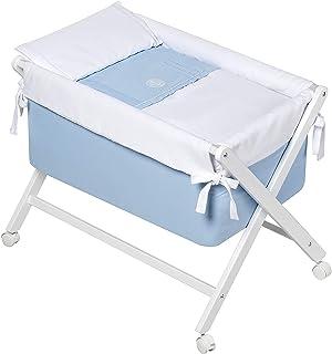 comprar comparacion Minicuna Plegable + Vestidura (Colcha-Cojín y Protector) + Colchon + Babero de regalo (Elite azul Bimbi)