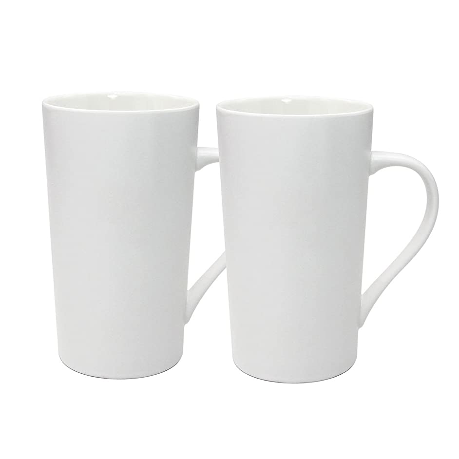 YINUOWEI Simple Pure White Large Ceramic Coffee Milk Cup Porcelain Mugs, 20oz, Set of 2