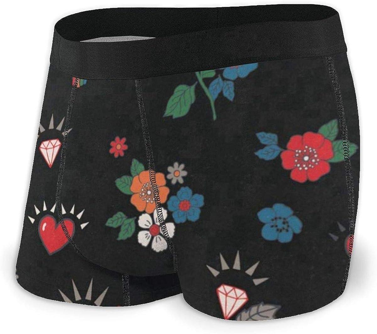 Mens Boxer Briefs Rose Hearts Rainbow Rock Breathable Underwear