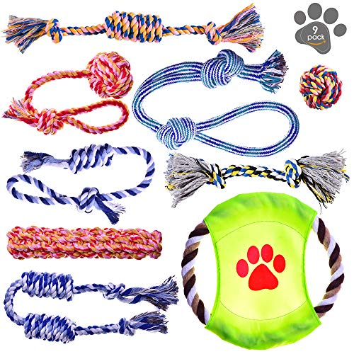 Dog Toys - Puppy Chew Toys - Rope Toys for Small Dogs - Safe Puppy Teething Toys - Small Dog Chew Toys Set - Teething Puppy Toys - Dog Rope Toys - Dog Toys Pack of 9 - Washable Cotton Rope Dog Toy