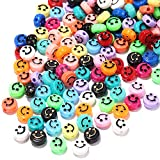 200pcs Smiley Face Beads,Happy Face Spacer Beads,Round Acrylic Beads with 16M Crystal Elastic String for DIY Charms Bracelet Necklace Jewelry Making Supplies
