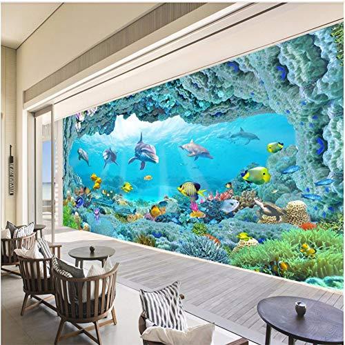 3D Fototapete 3D Effekt Delphin- Aquarium-Fisch-Koralle Tapete Vlies Wandbild Wohnzimmer Hintergrundbilder Wanddeko