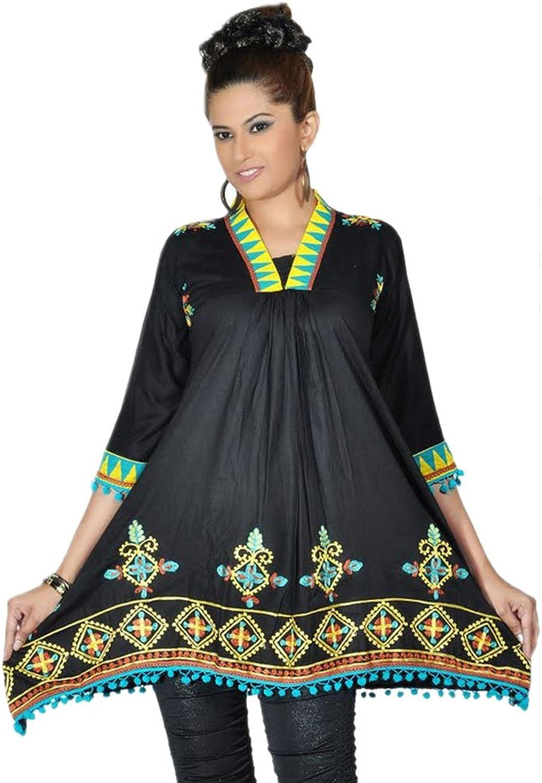 1545 Designs Women's Plus Size Halter Neck Black Tunic Top