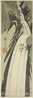 Historic Pictoric Print : Nunobiki Waterfall in Settsu Province (Sesshu Nunobiki no Taki), Utagawa Hiroshige, c 1850, Vintage Wall Decor : 15in x 44in