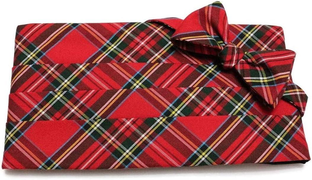 Red Stewart Tartan Plaid Cummerbund and Pre-Tied Bow Tie Set