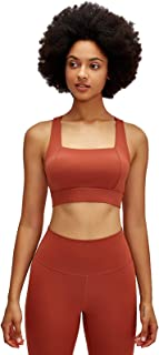 Back Cross Sports Bra, Hollow Out Breathable Comfy Yoga Gym Bras with Padded,Red,4