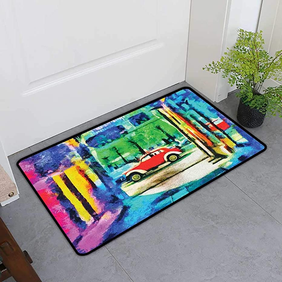 All-Natural Rubber Doormats, Psychedelic Custom Rugs for Kids Room, Colorful Passage Psychedelic Art Retro Car Moving on The Way in Town Image (Multicolor, H16 x W24)