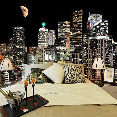 Fotobehang Stijlvol interieur Modern City Night Non-Woven Premium Art Print Fleece muur muurschildering Poster voor Woonkamer TV Achtergrond Muur 78.74x59 inch
