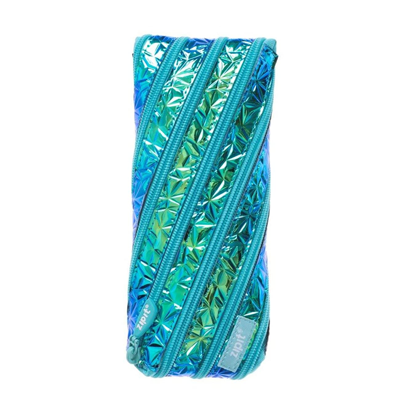ZIPIT Metallic Pencil Case/Cosmetic Makeup Bag, Blue-Green