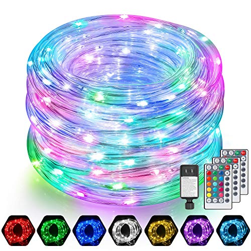 2 Pack 52FT RGB LED Rope Lights Outdoor, 104FT in Total, 16 Colors IP68 Waterproof Rope Lights with 160 LEDs, Multicolor Thick Rope Tube Fairy Twinkle Light with Remote for Bedroom Wedding Party Decor