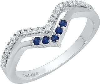 Dazzlingrock Collection 10K Round Gemstone & Diamond Ladies Five Stone Chevron Wedding Band, White Gold