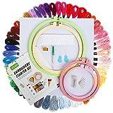 Kit de Broderie, SOLEDI Kit D'outils de Point de Croix Comprenant 4 Tambours de Broderie ABS, 50 Fils de...