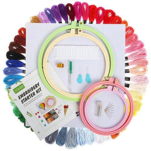 SOLEDI Stickerei Set Weicher Polyester Perfekt für Bracelets Stickerei Basteln Arts Kreuzstich 8m 6-fädig Embroidery Threads Einweg (50 Farben Stickerei-Kit)