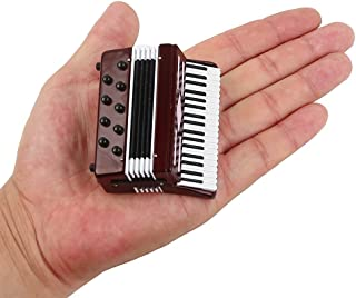 "Seawoo Dselvgvu Miniature Accordion with Case Mini Musical Instrument Replica Collectible Miniature Dollhouse Model Home Decoration (Red, 2.76""x2.36""x1.18"")"