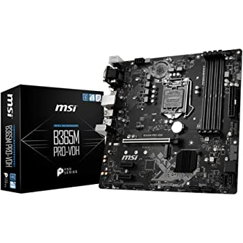 MSI ProSeries Intel B365 LGA 1151 Support 9th/8th Gen Intel Processors Gigabit LAN DDR4 USB/DVI-D/VGA/HDMI Micro ATX Motherboard (B365M PRO-VDH)
