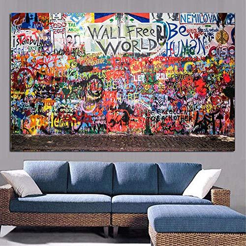 nobrand Graffiti Kunst Figur Malerei Filmstars Charlie Chaplin Ölgemälde Wandkunst Bilder für Wohnzimmer Home Decor 60x90cm kein Rahmen gemalt