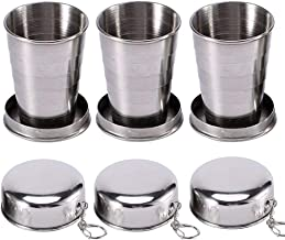Bonaweite 3Pcs Stainless Steel Collapsible Cup, Portable Folding Metal Telescopic Mug with Keychain for Outdoor Traveling Camping Hiking Picnic Water Coffee Tea Snacks
