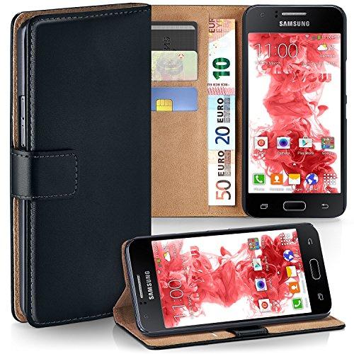 MoEx Premium Book-Case Handytasche kompatibel mit Samsung Galaxy J1 (2015) | Handyhülle mit Kartenfach und Ständer - 360 Grad Schutz Handy Tasche, Schwarz